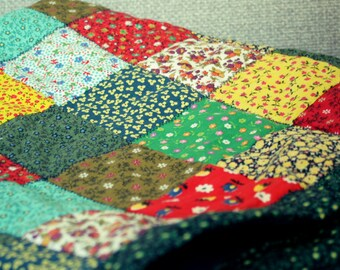 Handmade Quilt Made From Repurposed Fabric - Flower Patterns