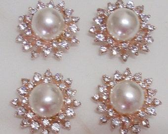 4 Flat Back Rhinestone Pearl Button Embellishment (27 mm) MY-443-04