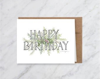 Happy Birthday Card, Birthday  Card for Her, Floral Birthday Card, Spring Birthday Card