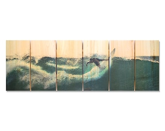 32x11 Surfer Dude on Cedar, Indoor and Outdoor Safe Beach Art (RI3211)