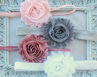 Baby Headband Set - Shabby Flower Headbands - Blush Pink, Gray, Dusty Rose, White - Vintage Baby Girl Headband Gift