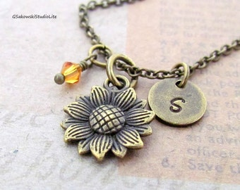Sunflower Charm Necklace, Personalized Initial Birthstone Antique Brass Sunflower Charm Necklace