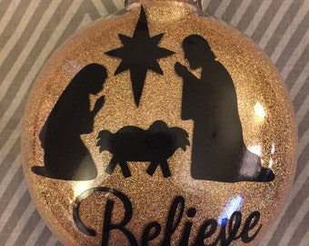 "Glittered ""Believe"" Chrismtas Ornament"