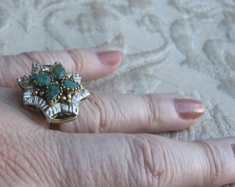 Multi Emerald Sterling Silver & Brass Accents Ring Size 7 1/2
