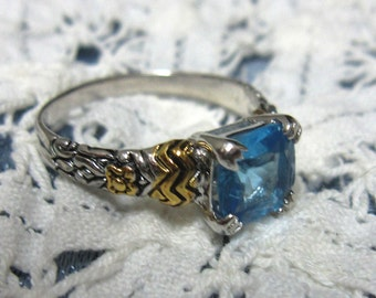 Blue Topaz Ring Size 9 set in Sterling with Brass Setting