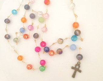 Rosary Style Ankh Necklace (Multi)