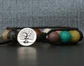 gemstone single wrap bangle bracelet on black brown leather - mens or women - boho gypsy bohemian jewelry - mixed gemstones - tree of life