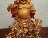 Standing Laughing Buddha Figurine - very shiny and painted gold