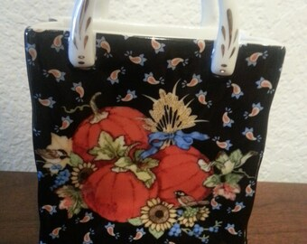 Ceramic Bag with Fall Pumpkin Design