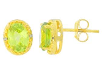 14Kt Yellow Gold Plated Peridot & Diamond Oval Stud Earrings