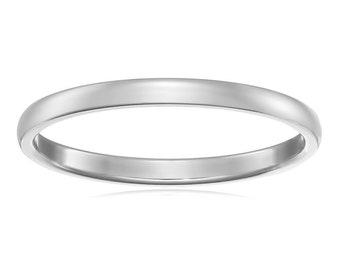 14Kt White Gold Wedding Band 2mm