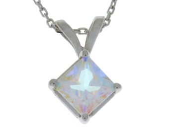 1 Ct Mercury Mist Mystic Topaz Princess Cut Pendant .925 Sterling Silver Rhodium Finish