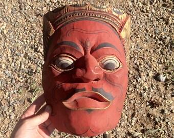 vintage hand carved wooden wall hanging mask