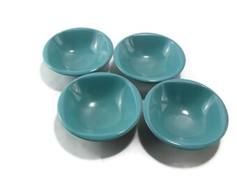 Turquoise Melmac Cereal Bowls * Set of 4 Melamine Soup Bowls * BoontonWare Aqua Dinnerware