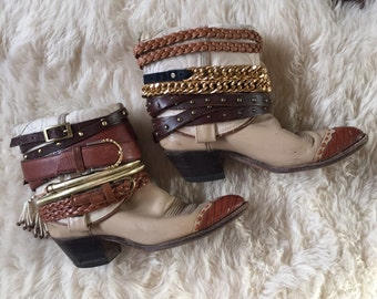 One of a Kind Handmade Repurposed Vintage Embellished Cowboy Western Boho Boots 7.5