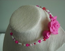 Day of the Dead Pink Skull with Large Pink Polymer Clay Rose Flower, with Pink and White Multi Beaded Memory Wire Choker Necklace