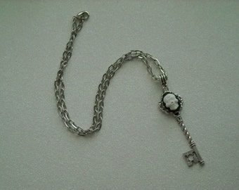White Day of the Dead Skull Silver tone Skeleton Key Necklace