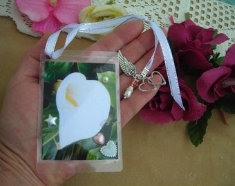 WEDDING Calla LILY Handmade printed & plastified image BOOKMARK w. ribbon, fx Pearl and charms