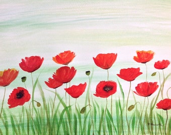 Poppies watercolour flowers poppies painting, red flowers, wall Art, home decor, Landscape painting, original painting red Poppies