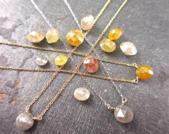 Custom Diamond Necklace - Rose Cut Diamond Necklace, Natural Diamond, Hand Made Diamond Bead Necklace, 14k Yellow, White, Rose Gold