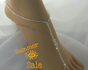 Crystal Bridal Barefoot Sandal Crystal Wedding Foot Jewelry