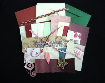 Rosy Romance -luxury 3 blank cards kit -OOAK ready to ship