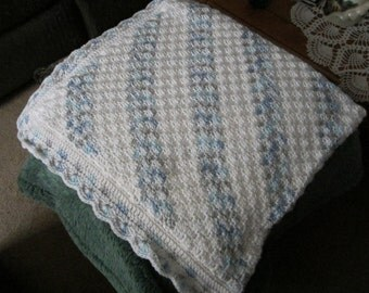 Baby Blanket in blues and white