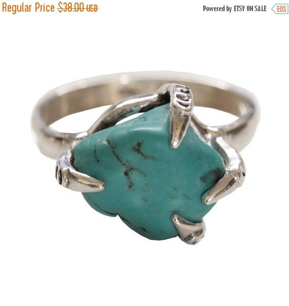 Handcarved Turquoise Nugget Ring, Claw Ring, Boho Rings, Bohemian Ring, Gypsy Ring, Sterling Silver Jewelry, Turquoise Jewelry, Personalised