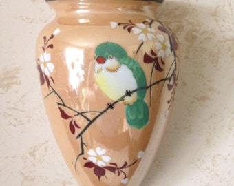 Vintage Lusterware Bird Wall Pocket,Japan