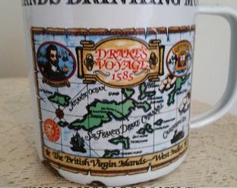 Enamelware Mug, Large Virgin Islands Drinking Mug, Great catch all, Nautical Mug, Collectible Rustic Souvenir Mug, Bar Mug, Bar Display mug