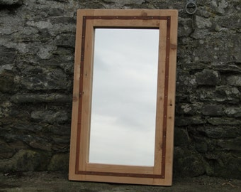 Large Rustic Reclaimed Mirror with steel detail