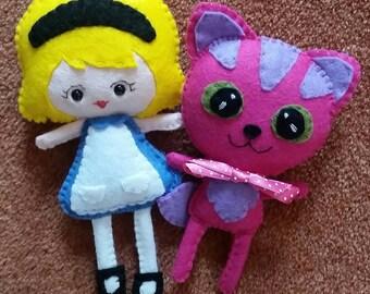 Alice and the Cheshire Cat felt plushies plush