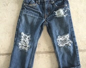 Unisex kids destroyed jeans levis distressed