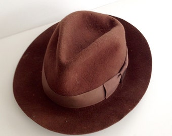 Vintage 1980's Stetson Hat / Indian Jones Brown Suede Leather Cowboy Hat / Size Medium