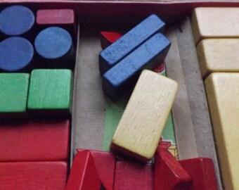 Vintage bricks , coloured blocks, building blocks