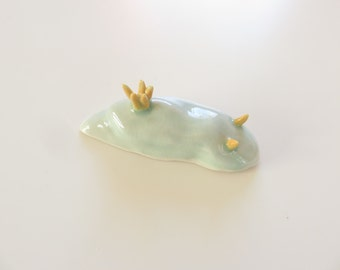 Ceramic sea slug, Nudibranchs, Chromodoris, Umiushi, celadon, ceramic sculpture, ocean