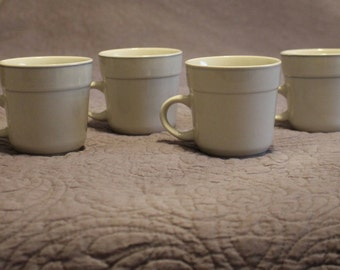 Set of 4 Vintage Chunky Heavy Durable Blue Trimmed Stone Gray Ceramic Teacups Mugs Cups for Coffee Tea Hot Chocolate