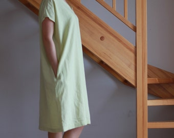 Linen dress Oversize linen dress V neckline dress Round neckline dress Women Light Green dress Ready to Wear Size M