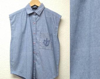 Vintage 90s Gitano Chambray Denim Button up Sleeveless Shirt Button down Collar Shirt Tank Top Crested Pocket Womens Casual Jean Cut off M