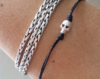 Tiny Skull cord bracelet, unisex bracelet with a Silver plated Tiny Skull , bracelet for me