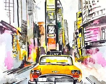 New York City Love Watercolor, Original Watercolor Painting  by Lana Moes,  NY Travel Art, Wanderlust Illustration, Times Square