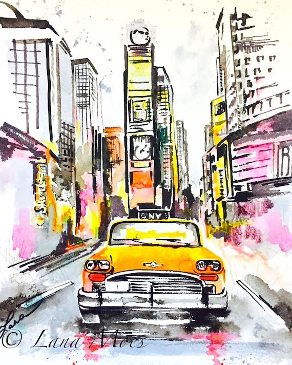 Watercolor New York: New York City Love Watercolor Original Watercolor Painting