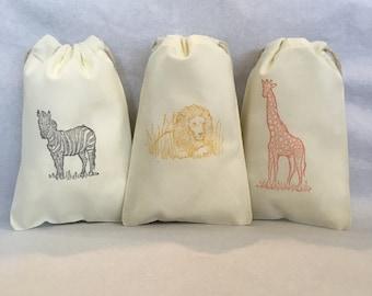 "25 Safari, Safari party, Safari party bags, Zoo party, Lion, Zebra, Giraffe- Safari party favor bags 4"" by 6""  - you choose ink color(s)"