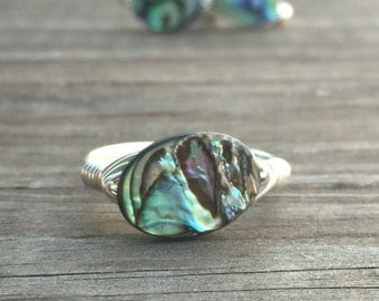 Abalone Shell Wire Wrapped Ring in Silver