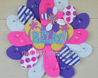 Beautiful Handmade Flip Flop Wreath Polka Dots and Stripes Relax Beachy