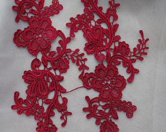 dark red lace applique by pairs, venice lace applique, retro floral lace applique