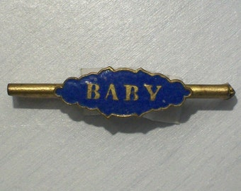 Charming Edwardian English Enameled Baby Brooch.