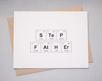 "Stepfather Father's Day Periodic Table of the Elements ""STeP FAtHEr"" / ""FAtHEr IN LaW"" Card, 100% recycled, eco friendly"