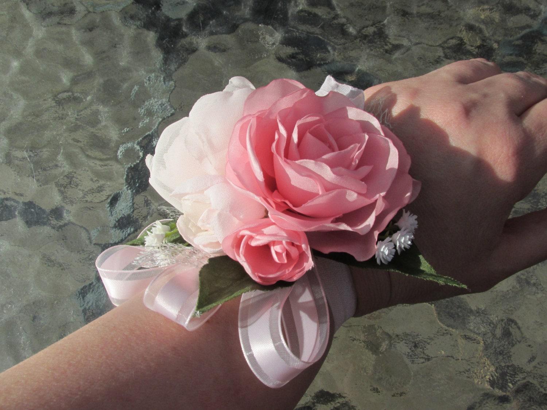 Beautiful Light Rose Pink Cream Roses Wrist Corsage Wedding