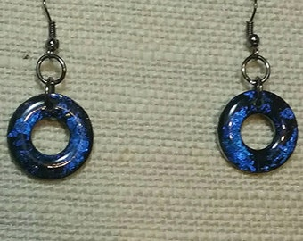 Washer earrings, Metallic earrings, Resin earrings, Bleu earrings, Black earrings, Summer earrings, Vacation earrings, colourful jewelry